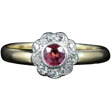 antique ruby diamond enement ring 18ct gold dated chester 1903 to expand