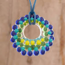 handmade glass pendant necklace in blue