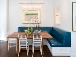 leather breakfast nook furniture. kendall wilkinsonu0027 breakfast nook with a large wooden table surrounded by white chairs and benches leather furniture