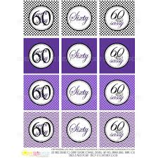 Printable 60th Birthday Cupcake Toppers Sticker Labels Party