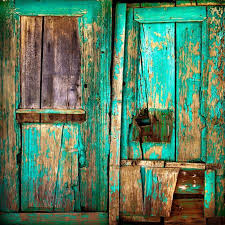 old wooden door old painted wooden boards old paint background stock photo