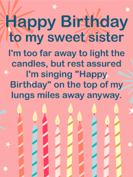 Birthday On Day Card To My Sweet Sister Happy Birthday Wishes Card Birthday