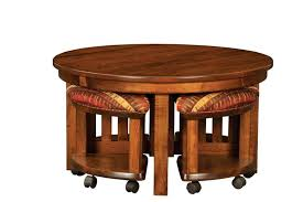 amish mission round coffee table and stool set