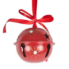 Red Ribbon Design Red Metal Jingle Bell Hanging Decoration With Snowflake
