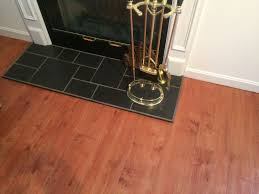 front of fireplace