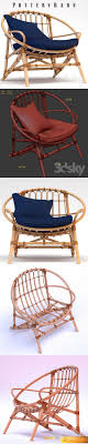 Armchair Pottery Barn Luling Rattan Chair 3D Model Pottery Barn Rattan Chair L15