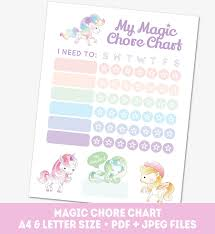 Chore Chart For Girls Printable Pony Reward Chart Weekly