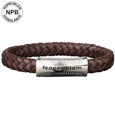noproblem 081 anti fatigue health negative ions leather band choker anime leisure man brown titanium bracelet