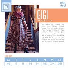 Lularoe Gigi Product Description And Sizing Chart