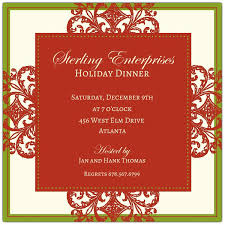 Decorative Square Border Corporate Holiday Invitations Paperstyle