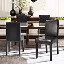 set of 2 dark brown bonded leather side parson chair wood legs cushion seat and