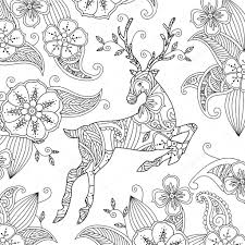 Kleurplaat Met Mooie Rennend Hert En Florale Achtergrond