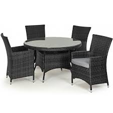 maze rattan garden furniture la grey 4 seater round dining table set