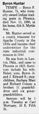 Byron Forrest Hunter Sr Obituary - Newspapers.com