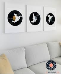 origami pack wall decor and art on vinyl records on wall art vinyl records with origami pack wall decor and upcycled vinyl records