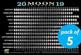 2019 Moon Calendar Card 5 Pack Lunar Phases Eclipses