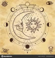 мистические рисунок солнце луна человеческие лица круг фазы луны