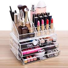 cq acrylic 4 drawers and 16 grid makeup organizer with cosmetic storage cases the top