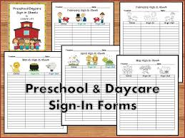 Preschool And Daycare Sign In Forms Daycare Forms