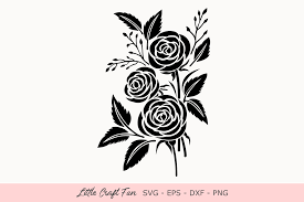 Rose Flowers Silhouette Graphic By Little Craft Fun Creative Fabrica