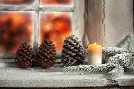 Pine Cone Candles Wallpaper Christmas Window Candles Branches Pine Cone 5616x3744