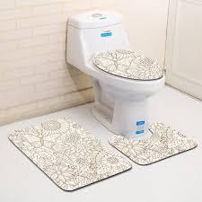 honlaker 3pcs modern geometric patterns bathroom toilet mats set antiskid bath rug non slip bath mat carpet