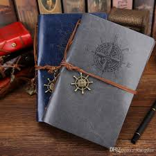 2019 vintage pu leather journal notepads classic retro spiral ring binder diary notes book diary notebook blank kraft paper notebooks from kangdan