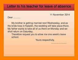 12 Absent Letter To Class Teacher Sony Asong