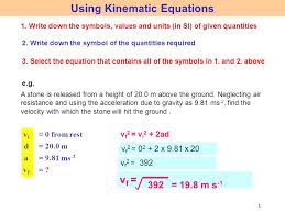 2 1 using kinematic equations 1 write down the symbols values and units in si of given quantities 2 write down the symbol of the quantities required 3