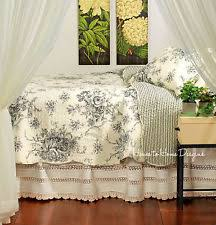 Country Quilts | eBay & FRENCH COUNTRY BLACK ROSE Full Queen QUILT SET : COTTAGE SHABBY CREAM TOILE Adamdwight.com