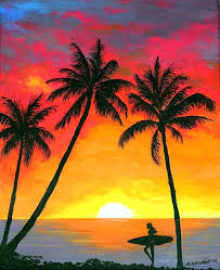 sunset beach painting tropical sunset surfer painting by painting surfers sunset and