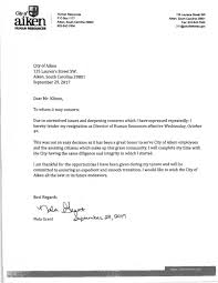 Resignationletter City Of Aiken HR Director Resigns Resignation Letter Cites 18