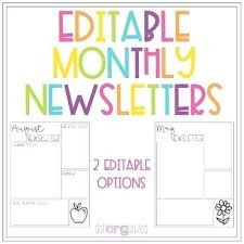 Monthly Newsletter Template For Teachers Monthly Newsletter Template Editable Monthly Newsletter Template