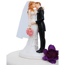 Wedding Cake Topper Funny Romantic Groom And Bride Kissing With