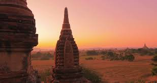 famous ancient architecture. Amazing Ancient Architecture Of Bagan Temples In Myanmar (Burma) At Sunset.  Heritage Site Famous Asian Landmark And Popular Travel Destination Stock U