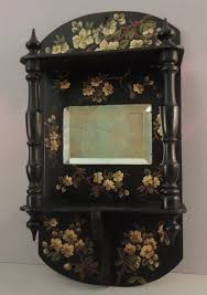 antique black lacquer wall shelf with
