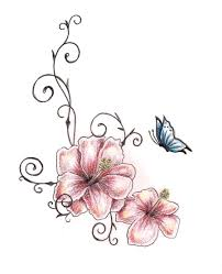 Flowers With Designs Amazing Two Hibiscus Flower With Butterfly Tattoo Design By