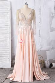 Light Pink And Light Blue Prom Dresses Custom Pink V Neck Slit Flowy A Line Prom Dress