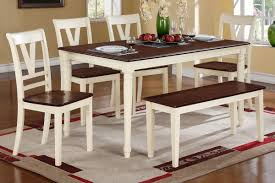 Cherry Wood Kitchen Table Sets Contemporary 6pcs Dining Table Set In Cream Cherry By Poundex F2391