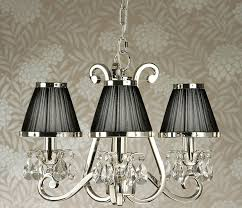 oksana nickel 3 light chandelier crystal drops black shades