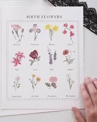 Month Flowers Chart Birth Flower Chart Watercolor Artwork Print Birth Flowers