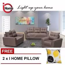 fabric sofa set. I HOME JERRY 123 Seater Sofa Set / Fabric Upholstery (Brown) F
