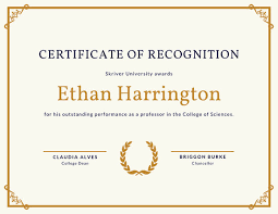 Blue And Yellow Strokes Recognition Certificate Templates