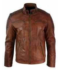 men s biker vintage cafe racer motorcycle distressed brown leather jacket