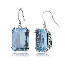 2018 bridal sapphire earrings studded mermaid earrings aquamarine dangles earrings for women vintage silver romantic wedding hot from jonely