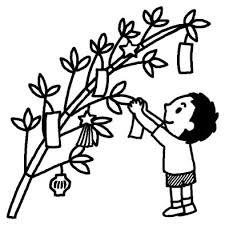 飾りつけ1七夕夏の季節7月の行事無料白黒イラスト素材
