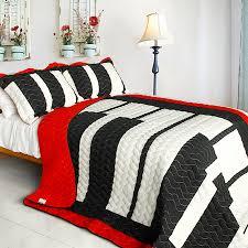 Music Piano Keyboard Red Black White Bedding Full/Queen Quilt Set ... & Music Piano Keyboard Red Black White Bedding Full/Queen Quilt Set Oversized  Bedspread Adamdwight.com