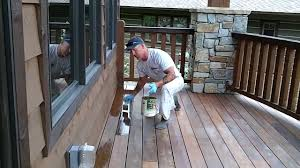 Clear Coating An Exotic Wood Deck. How to stain a deck.