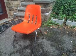 orange plastic chair. Orange Molded Plastic Chair With Chrome Legs Corner 2 I