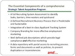 4 the essential components of a comprehensive strategic talent acquisition talent acquisition manager job description